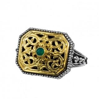 Gerochristo P2368N ~ Sterling Silver & Onyx Medieval-Byzantine Ring