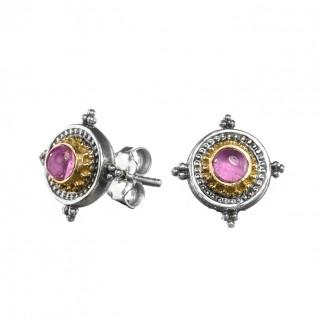 Gerochristo 1088N ~ Solid Gold & Sterling Silver Byzantine Medieval Stud Earrings