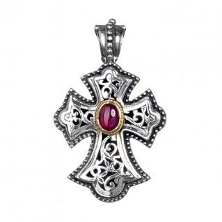Gerochristo 5283N ~ Solid Gold & Sterling Silver Byzantine Cross Pendant