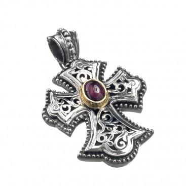 Gerochristo 5283N ~ Solid Gold & Sterling Silver Byzantine Cross Pendant