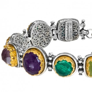 Gerochristo P6384N ~ Sterling Silver Multi-Stone Link Bracelet with Doublet Stones