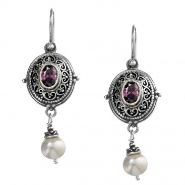 Gerochristo 1344N ~ Sterling Silver & Stones Medieval-Byzantine Filigree Dangle Errings