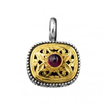 Gerochristo P1250N ~ Sterling Silver & Garnet Medieval-Byzantine Charm Pendant