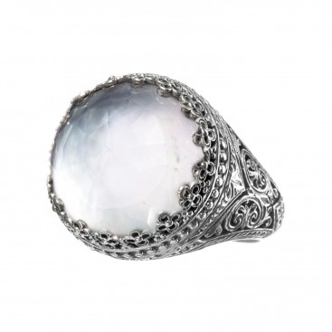 Gerochristo 2855N ~ Sterling Silver Medieval-Byzantine Doublet Cocktail Ring
