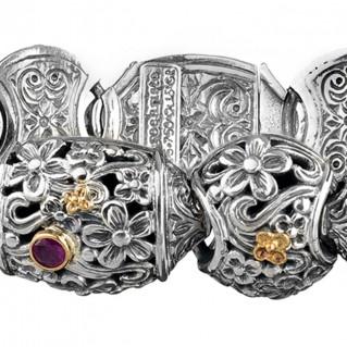Gerochristo 6329N ~ Solid Gold & Sterling Silver Barrel Floral Bracelet