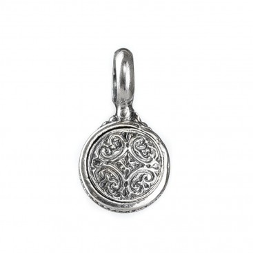 Gerochristo 1594N ~ Sterling Silver Medieval Round Pendant with Doublet Stone