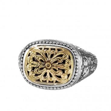 Gerochristo 2208N ~ Solid Gold & Silver Medieval-Byzantine Filigree Chevalier Ring