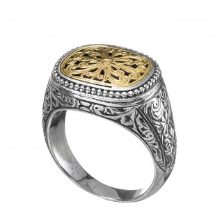 Gerochristo 2208N ~ Solid Gold & Silver Medieval-Byzantine Filigree Chevalier Ring