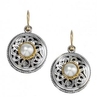 Gerochristo 1118N ~ Solid Gold, Silver & Pearls - Medieval Byzantine Drop Earrings