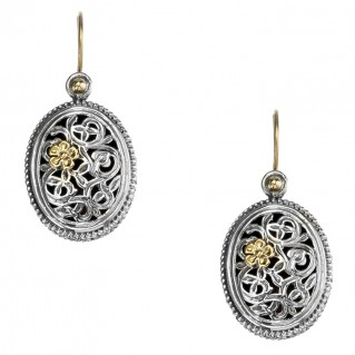 Gerochristo 1121N ~ Solid Gold & Silver Filigree Floral Drop Earrings