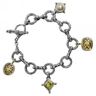 Gerochristo 6141N ~ Solid Gold & Sterling Silver Medieval Link-Charm Bracelet