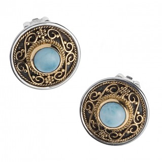 Savati 247 - 22K Solid Gold & Sterling Silver Byzantine Round Clip Earrings