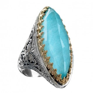 Gerochristo 2841N ~ Solid Gold & Silver Medieval Large Cocktail Ring