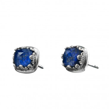 Gerochristo 1622N ~ Sterling Silver Square Stud Earrings with Doublet Stones