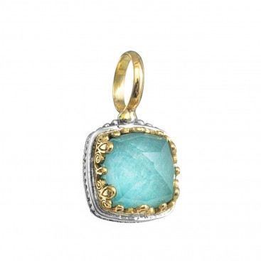 Gerochristo 1630N ~ Solid Gold & Sterling Silver Medieval Charm Pendant with Doublet Stone