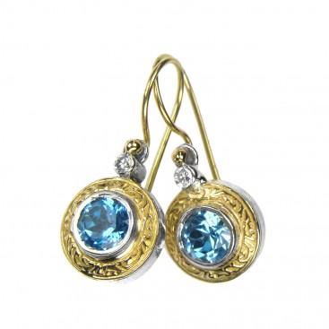 Gerochristo 1073N ~ Solid Gold & Silver Medieval-Byzantine Drop Earrings