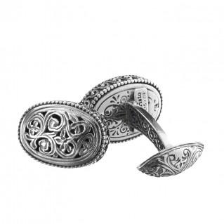 Gerochristo 7035N ~ Sterling Silver Medieval Byzantine Oval Filigree Cufflinks
