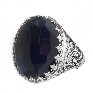 Gerochristo 2866N ~ Sterling Silver Medieval-Byzantine Cocktail Ring