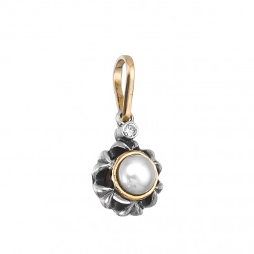 Gerochristo 1074N ~ Solid Gold, Silver & Stones Floral Charm Pendant