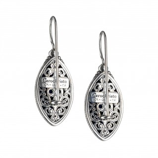 Gerochristo 1617N ~ Sterling Silver Medieval Drop Earrings with Doublet Stones