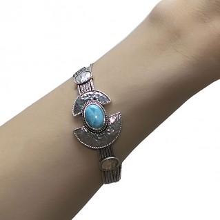 Savati 232 - Sterling Silver & Larimar Multi Chain Byzantine Bracelet