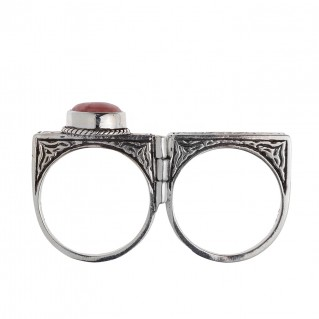 Savati 253 - Sterling Silver Byzantine Engraved Two Finger Ring