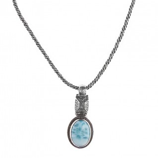 Savati 239 - Sterling Silver & Larimar Byzantine Oval Necklace