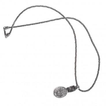 Savati 239 - Sterling Silver & Larimar Byzantine Oval Necklace