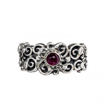 Gerochristo 2733N ~ Sterling Silver Medieval Floral Band Ring