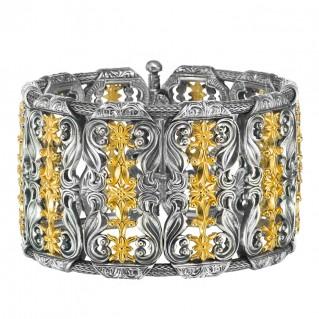 Gerochristo P6333N ~ Sterling Silver Medieval-Byzantine Floral Bangle Bracelet