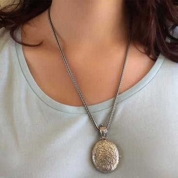 Gerochristo 3340N ~ Sterling Silver Medieval Floral Locket Pendant