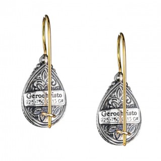 Gerochristo 1637N ~ Solid Gold & Silver Medieval Drop Earrings with Doublet Stones