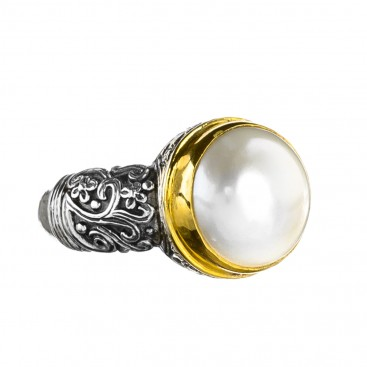 Gerochristo P2817N ~ Sterling Silver Byzantine-Medieval Solitaire Pearl Ring
