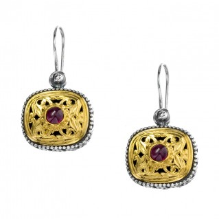Gerochristo P1250N ~ Sterling Silver & Garnet Medieval-Byzantine Drop Earrings