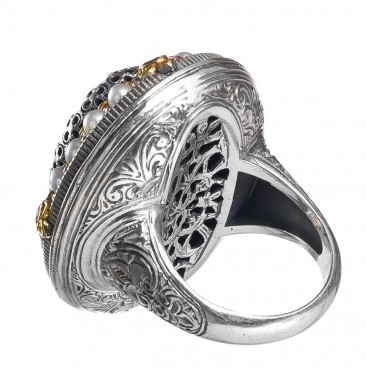 Gerochristo P20020N ~ Sterling Silver & Stones Medieval-Byzantine Imperial Cocktail Ring