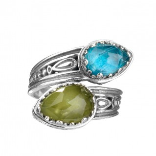 Gerochristo 2911N ~ Sterling Silver Byzantine Bypass Wrap Ring with Doublet Stones