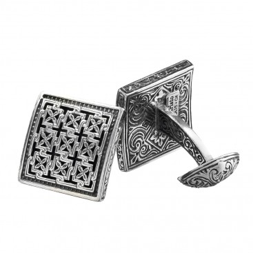 Gerochristo 7069N ~ Sterling Silver Medieval-Byzantine Cross Cufflinks