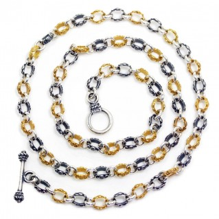 Sterling Silver Two-Tone Ornate Chain