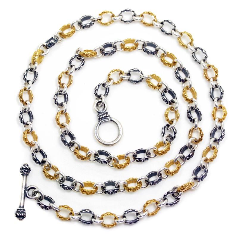 Sterling Silver Two Tone Ornate Chain CultureTaste