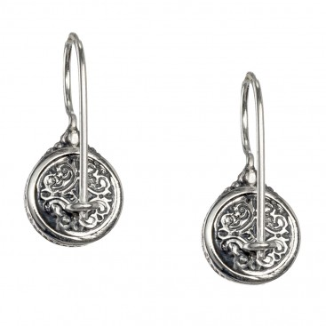 Gerochristo 1594N ~ Sterling Silver Medieval Drop Earrings with Doublet Stones