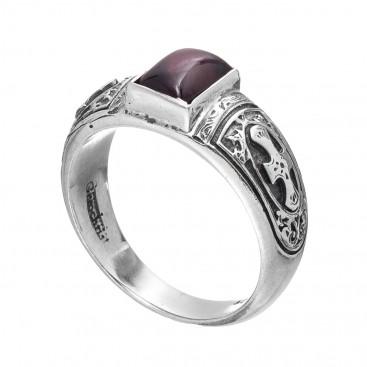Gerochristo 2585N ~ Sterling Silver & Garnet Medieval-Byzantine Band Ring