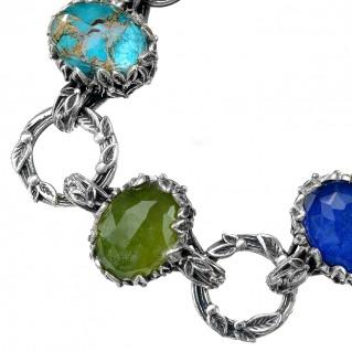 Gerochristo 6323N ~ Sterling Silver Cyclamen Multi-Stone Link Bracelet
