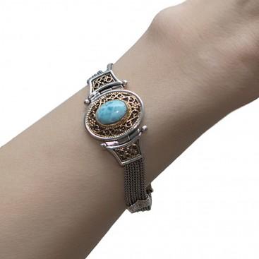 Savati 231 - 22K Solid Gold & Sterling Silver Multi Chain Byzantine Bracelet