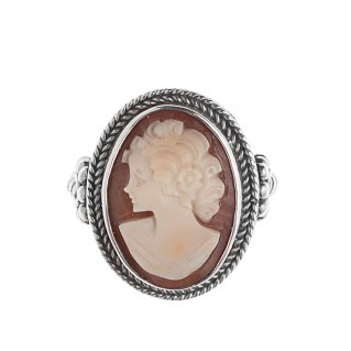 Savati 256 - Sterling Silver Cameo Large Cocktail Ring