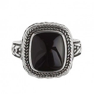 Savati 257 - Sterling Silver Byzantine Men's Ring with Black Onyx