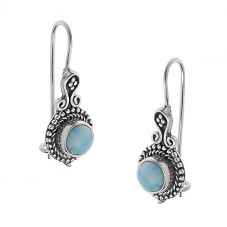 Savati 250 - Sterling Silver & Larimar Byzantine Drop Earrings