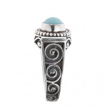 Savati 251 - Sterling Silver & Larimar Byzantine Band Ring