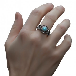 Savati 251 - Sterling Silver & Larimar Byzantine Band Ring