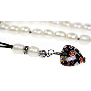 Freshwater Pearls & Millefiori Heart ~ Ladies Worry Beads Komboloi