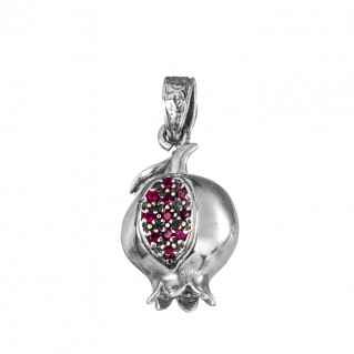 Gerochristo 1658N ~ Sterling Silver and Zircon Pomegranate Charm Pendant